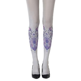 Zohara ZOF423-LGMC Women's Alice In Wonderland grå mote Tights
