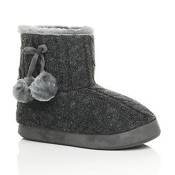 Ajvani Damen Winter Pom Pom Pelz gefüttert Komfort gestrickt Knöchel Slipper Stiefel Stiefeletten