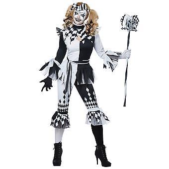Crazy Jester Deluxe Joker Harley Quinn Mardi Gras Clown Psycho Womens kostym