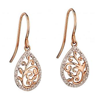 Elements Gold Diamond Ornate Cutout Earrings - Rose Gold/Clear