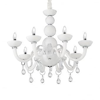 Ideal Lux Windsor Modern Gloss White 8 Light Ceiling Chandelier