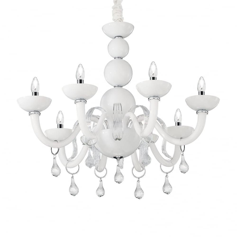 Ideal Lux Windsor Modern Gloss blanc 8 Light Ceiling Chandelier
