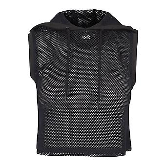 Urban classics ladies - fitness mesh cropped Hoody black