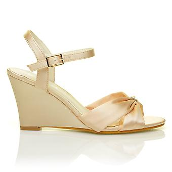 ANGEL Champagne Gold Satin Wedge High Heel Strappy Bridal Shoes