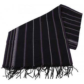 Bassin and Brown Stanley Striped Wool Scarf  - Black/Grey/Purple