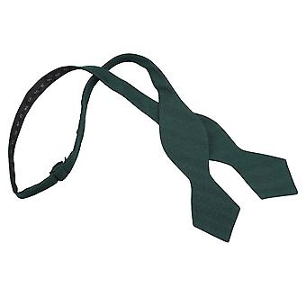 Bottle Green Ottoman Wool Pointed Self Tie Bow Tie