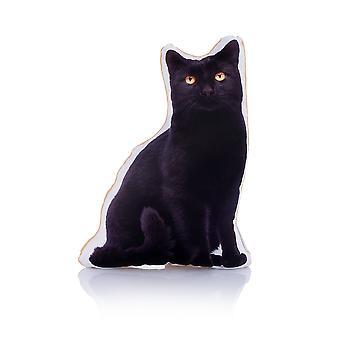 Adorable black cat shaped midi cushion