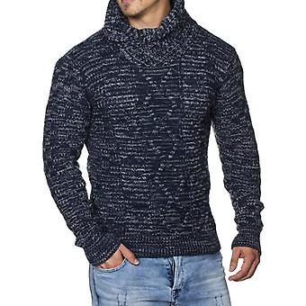 TAZZIO men's Chunky knit sweaters with shawl collar Royal Blue