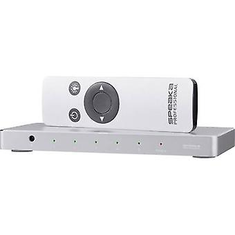 SpeaKa Professional 5 ports HDMI switch Aluminium casing, + remote control, Ultra HD compatibility 3840 x 2160 pix