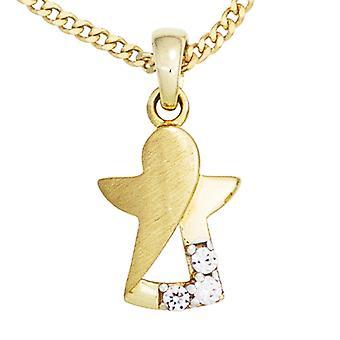 Dzieci, urok, Anioł Stróż 333 złoto żółte złoto matowe częściowo 3 cyrkonia dzieci Biżuteria