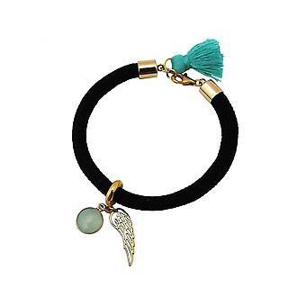 Damen - Armband - Vergoldet - Edelstein - Aqua Chalcedon - Engel Flügel - Grün - Schwarz