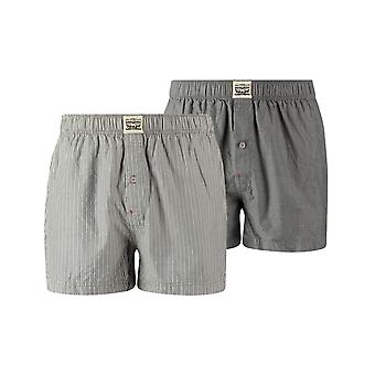 Levi's 2 Pack 300ls Striped Chambray Woven Boxer Trunk - Anthracite Denim
