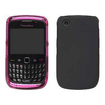 Pink & Black Hybrid Snap-On Case for BlackBerry 8520 Curve2 9300 9330 Curve 3G