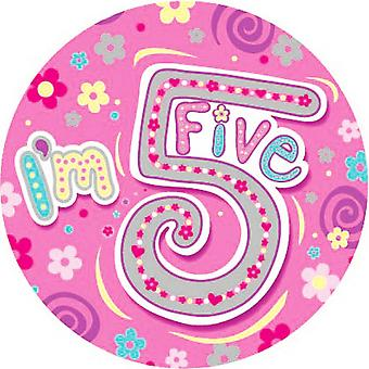 Expression Factory Childrens Girls I Am 5 Today Giant Badge