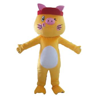 mascot cat yellow, white and pink, colorful and funny SPOTSOUND