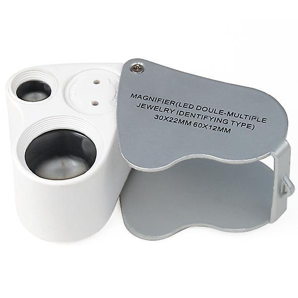 TRIXES Jewellers Lens Glass Loupe 30X /& 60X Magnifier 2x LEDs Lights