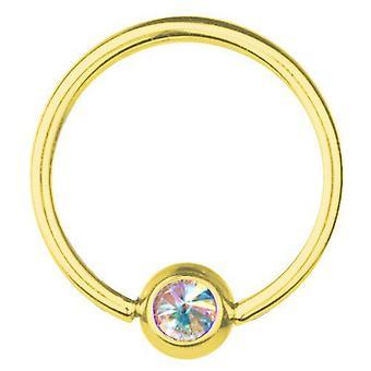 BCR vergoldet Titan Piercing 0,8, SWAROVSKI Elemente Aurora Borealis   6-12 mm