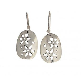 Cavendish French Sterling Silver Oval Drop Earrings with Cut-out Flowers