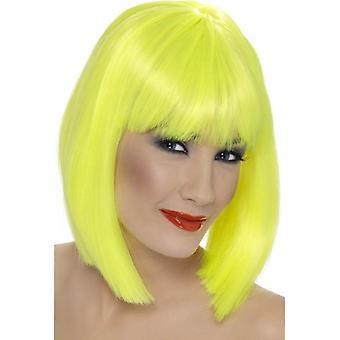 Korte Neon gul lige paryk, Glam paryk med frynser, Fancy kjole tilbehør.