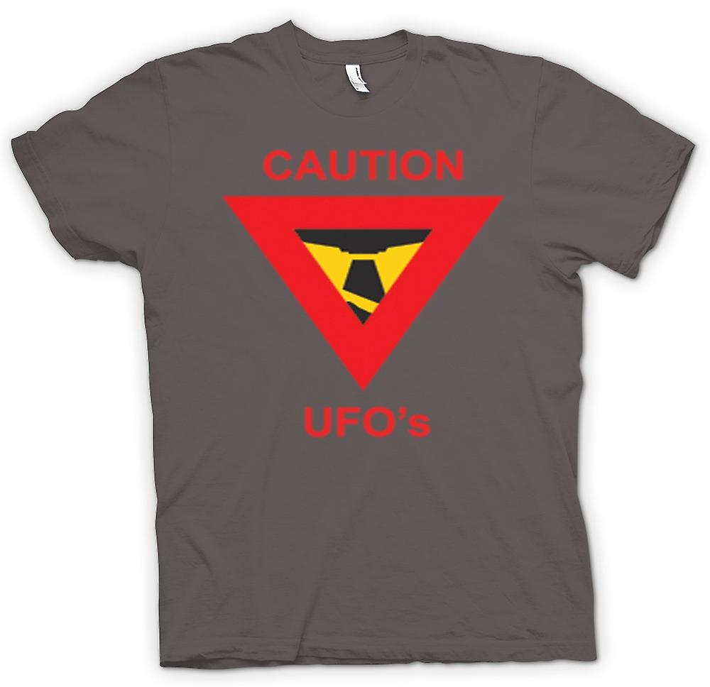 Womens T-shirt - Caution UFO's Warning Sign