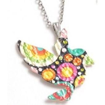 TOC Multicolour Zinc Alloy Printed Bird Pendant Necklace 18