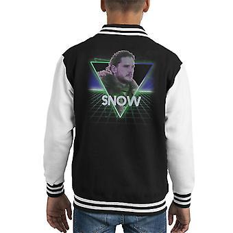 Spel van tronen Jon Snow Retro 80s Neon landschap Kid's Varsity Jacket