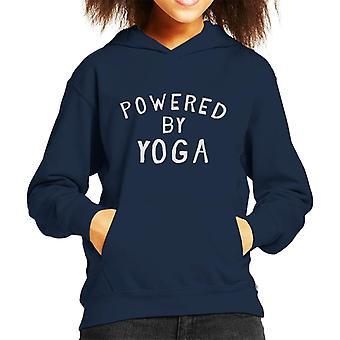 Powered By Yoga Slogan Kid's Hooded Sweatshirt