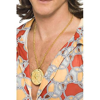 Mens Gold Metal Medallion On Chain Fancy Dress Accessory