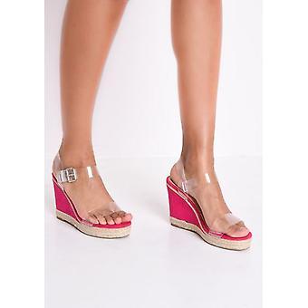 Perspex Platform Espadrille Wedge Sandals Suede Fuschia Pink