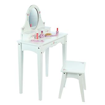 Tidlo Wooden Children's Dressing Table with Stool, Mirror, Storage Kids Room