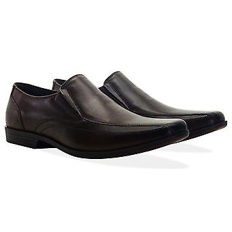Mens brown leather twin gusset loafer shoe