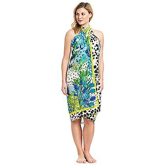Feraud 3195314-16526 Women's Voyage Sealeaves Blue Floral Sarong Beach Cover Up Pareo