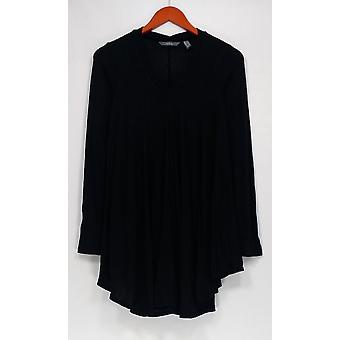 Anybody Sweater Loungewear Brushed Hacci V-Neck Swing Black A286932