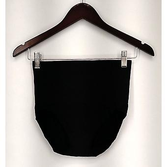 Breezies Panties Elastic Waist Seamless Full Brief Black New A27295