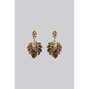 Louche Monkey Leaf Earring Gold
