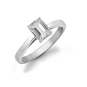 Jewelco London Ladies Solid 18ct White Gold 4 Claw Set Baguette G SI1 1ct Diamond Solitaire Engagement Ring