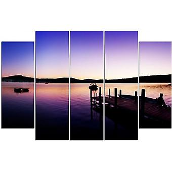 Five Part Picture On Canvas, Pentaptych, Type B, Marina And Lake On A Summer Morning