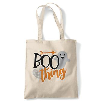 Boo Thing Tote | Halloween Fancy Dress Costume Trick Or Treat | Reusable Shopping Cotton Canvas Long Handled Natural Shopper Eco-Friendly Fashion