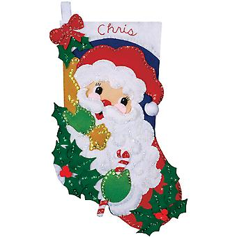 Holly Santa Stocking Felt Applique Kit 16