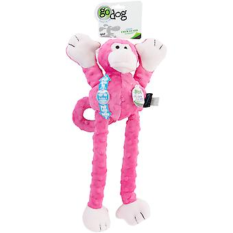 goDog Crazy Tugs Monkey with Chew Guard Large-Pink 770867
