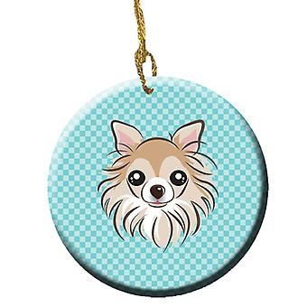 Checkerboard Blue Chihuahua Ceramic Ornament BB1189CO1