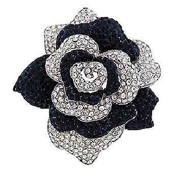 Butler & Wilson Layered Black & White Rose Brooch