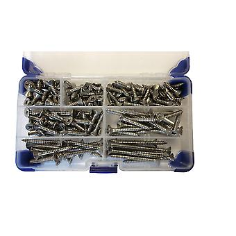 310 Piece No 8 (4.2mm) Stainless Steel Pozi Countersunk Head Self Tapping Screws Assorted Lengths