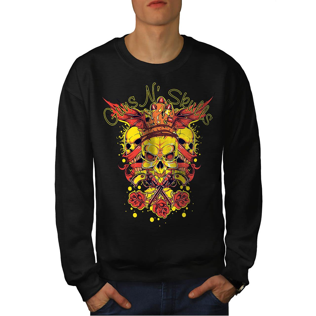 Guns And Skulls Brawl King Demon Men Black Sweatshirt | Wellcoda