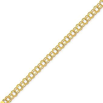 14k Yellow Gold Solid Polished Lobster Claw Closure Double Link Charm Bracelet - Lobster Claw - Length: 7 to 8
