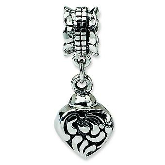 Sterling Silver Polished Antique finish Reflections Heart Ash Dangle Bead Charm