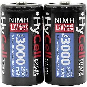 D battery (rechargeable) NiMH HyCell HR20 3000 mAh 1.2 V 2 pc(s)