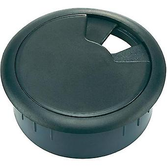 Cable grommet for worktops Acrylonitrile butadiene styrene Black Conrad Components WP50BK 1 pc(s)