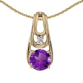 10k Yellow Gold Round Amethyst And Diamond Pendant with 18