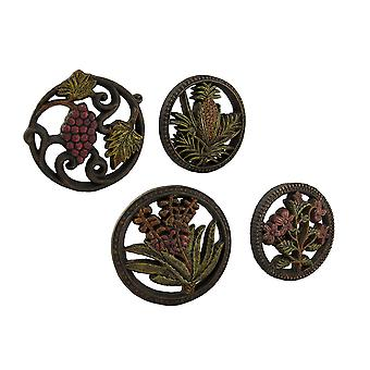 Fruits and Flowers Medley Decorative Wall Hanging Plaques Set of 4